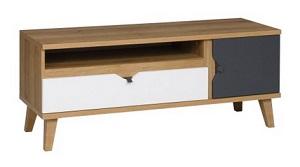 szafka stojąca RTV z płyty wiórowej laminowanej, z nogami z tworzywa sztucznego
